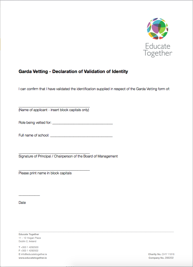 Declaration of Validation of Identity Form | Educate Together