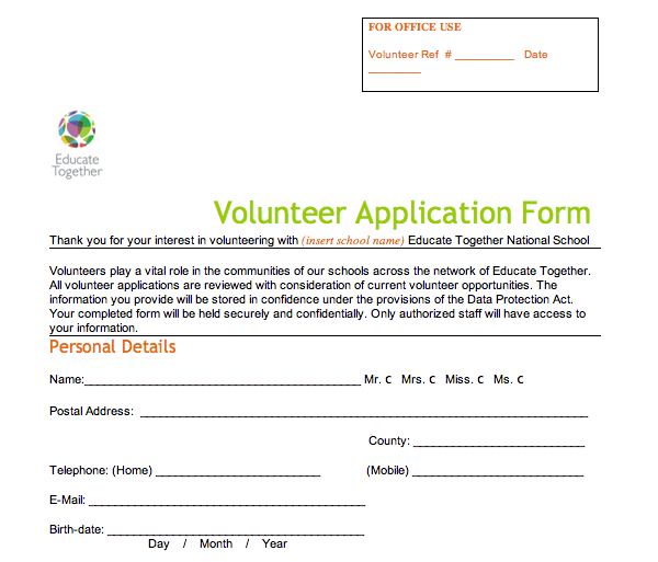Volunteer Application Form Educate Together
